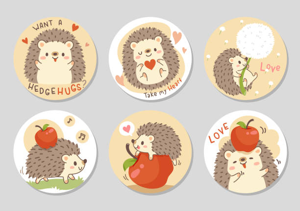Little hedgehog with red apple set - circle Cute little hedgehog with fresh red apple. Set of rectangle gift tag, card, postcard. Want a hedgehugs? Lovely happy funny. Vector illustration. animal valentine stock illustrations
