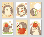Cute little hedgehog with fresh red apple. Set of rectangle gift tag, card, postcard. Want a hedgehugs? Lovely happy funny. Vector illustration.