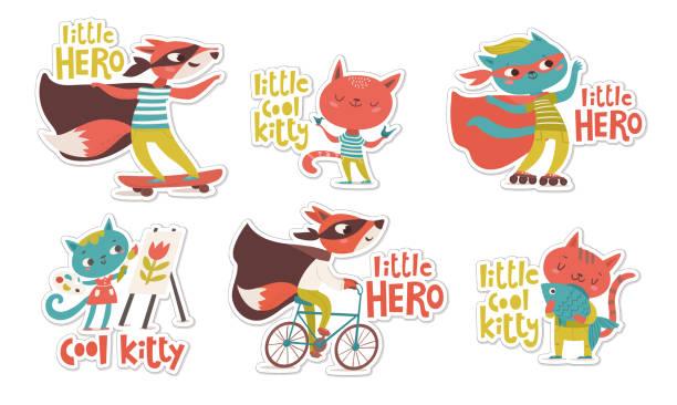 ilustrações de stock, clip art, desenhos animados e ícones de little hero stickers with foxes and cats and lettering. - super baby