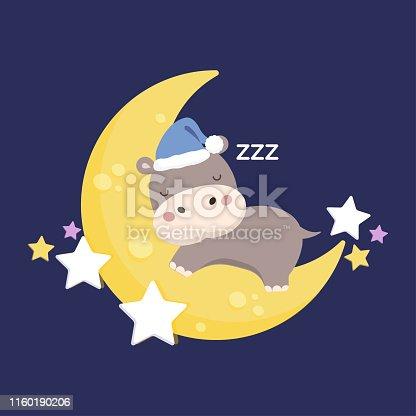 Little Hippo sleeping on the moon.