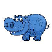 Little hippopotamus. Cartoon. Blue cheerful cartoon animal