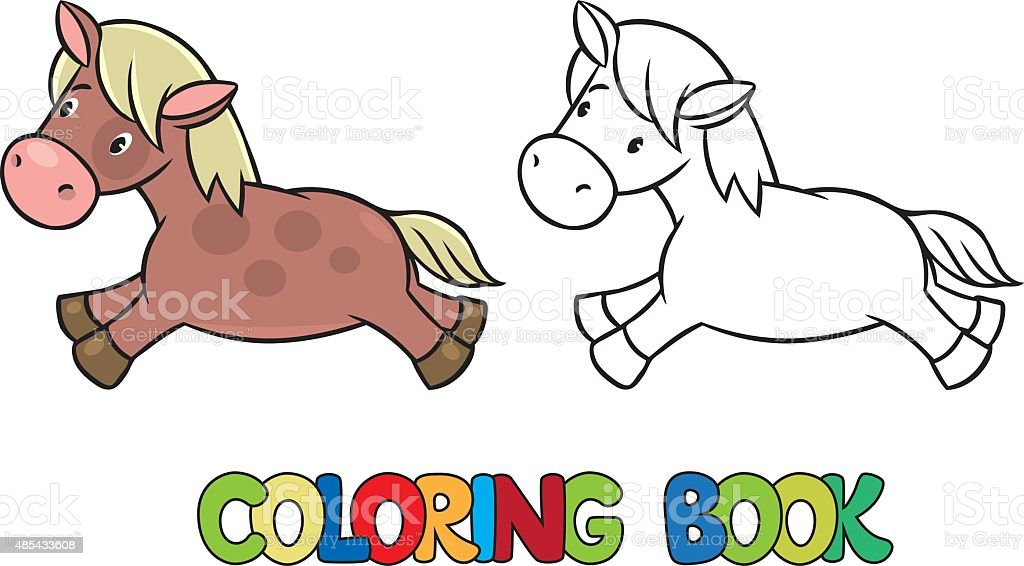 Little horse or pony coloring book vector art illustration