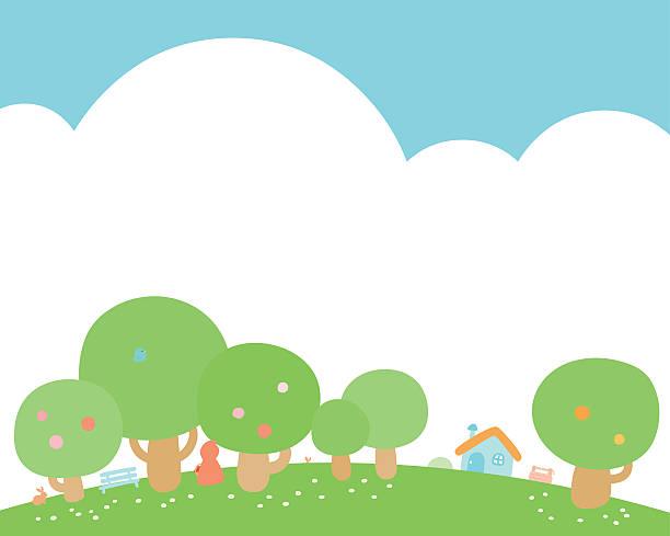 illustrazioni stock, clip art, cartoni animati e icone di tendenza di casetta in collina verde sfondo vettoriale - pesche bambino