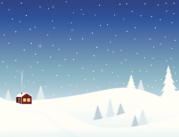 Little house in snowy hills Little house in snowy hills, cozy winter scene. cottage stock illustrations