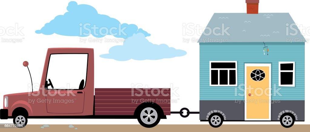 Little house on the go vector art illustration