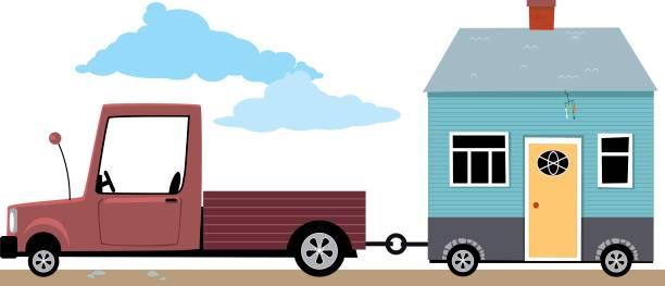 kleines haus auf dem sprung - hypotheken kündigung stock-grafiken, -clipart, -cartoons und -symbole