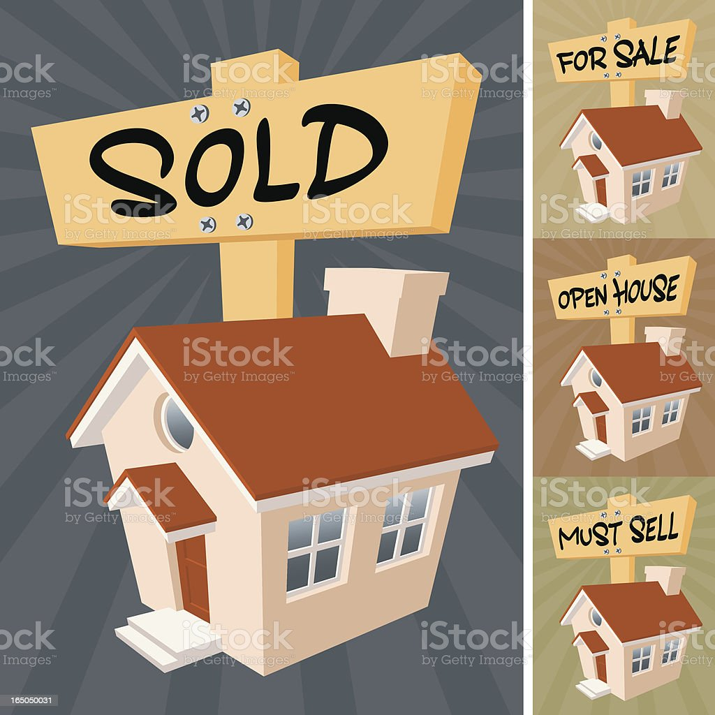Little House with Signs vector art illustration