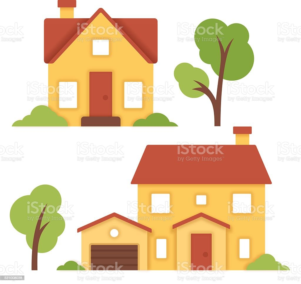 Little Houses vector art illustration