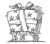 Little Human Figures Holding Big Gift Box Drawing