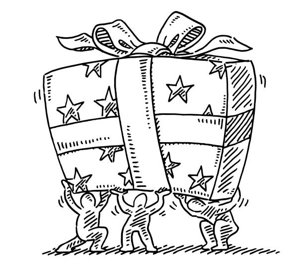 Little Human Figures Holding Big Gift Box Drawing Hand-drawn vector drawing of three Little Human Figures Holding a Big Gift Box. Black-and-White sketch on a transparent background (.eps-file). Included files are EPS (v10) and Hi-Res JPG. cartoon character figure stock illustrations