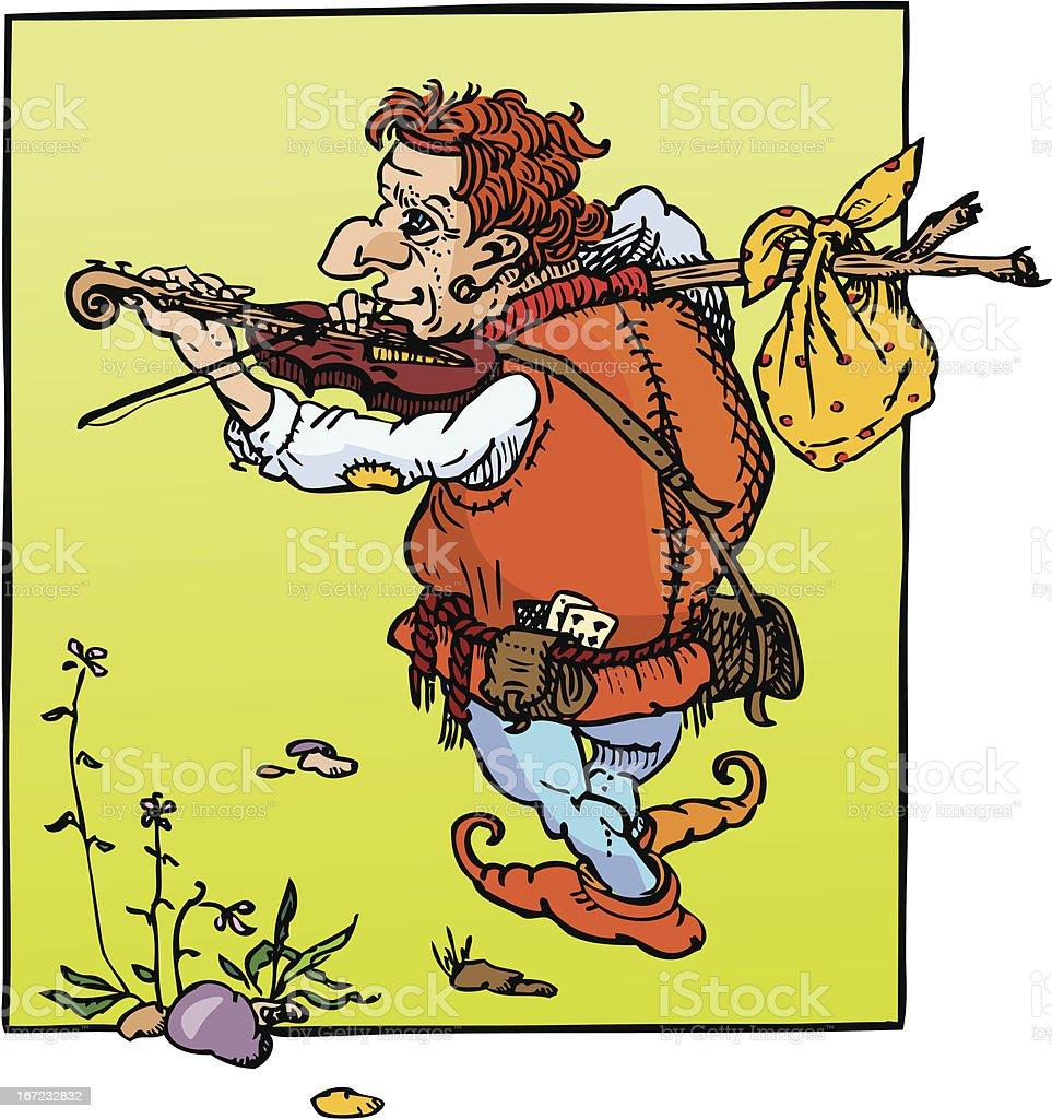 little hunchback playing violin vector art illustration