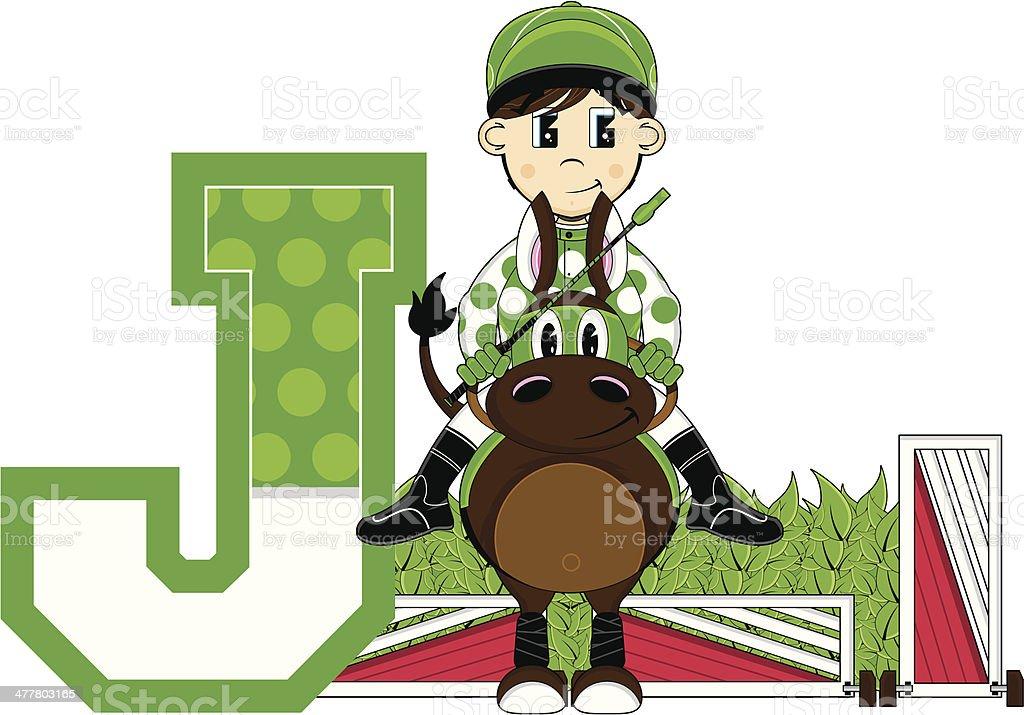 Little Jockey Learning Letter J royalty-free stock vector art