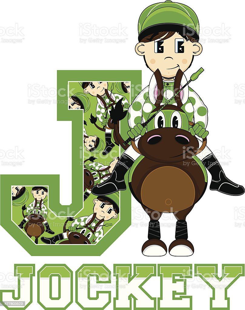 Little Jockey Learning Letter J royalty-free stock vector art