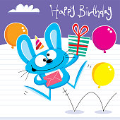 Happy jumping birthday party rabbit with gifts and balloons