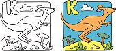 Coloring picture or coloring book of little funny jumping kangaroo, running through the desert. Alphabet K