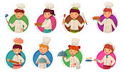 Little kid chef. Children cooking, kids cooks in circle frame and child chefs in round hole. Kitchen culinary boy and girl food cook character. Cartoon vector illustration isolated icons set