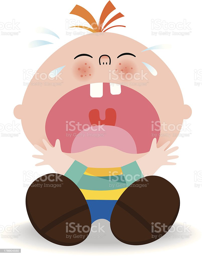 Little kid crying vector art illustration