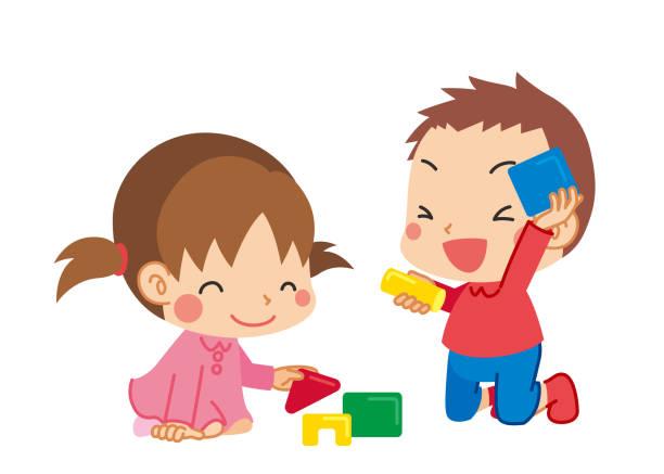 illustrazioni stock, clip art, cartoni animati e icone di tendenza di little kid playing indoors - two students together asian