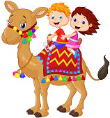 vector illustration of Little kid riding decorated camel