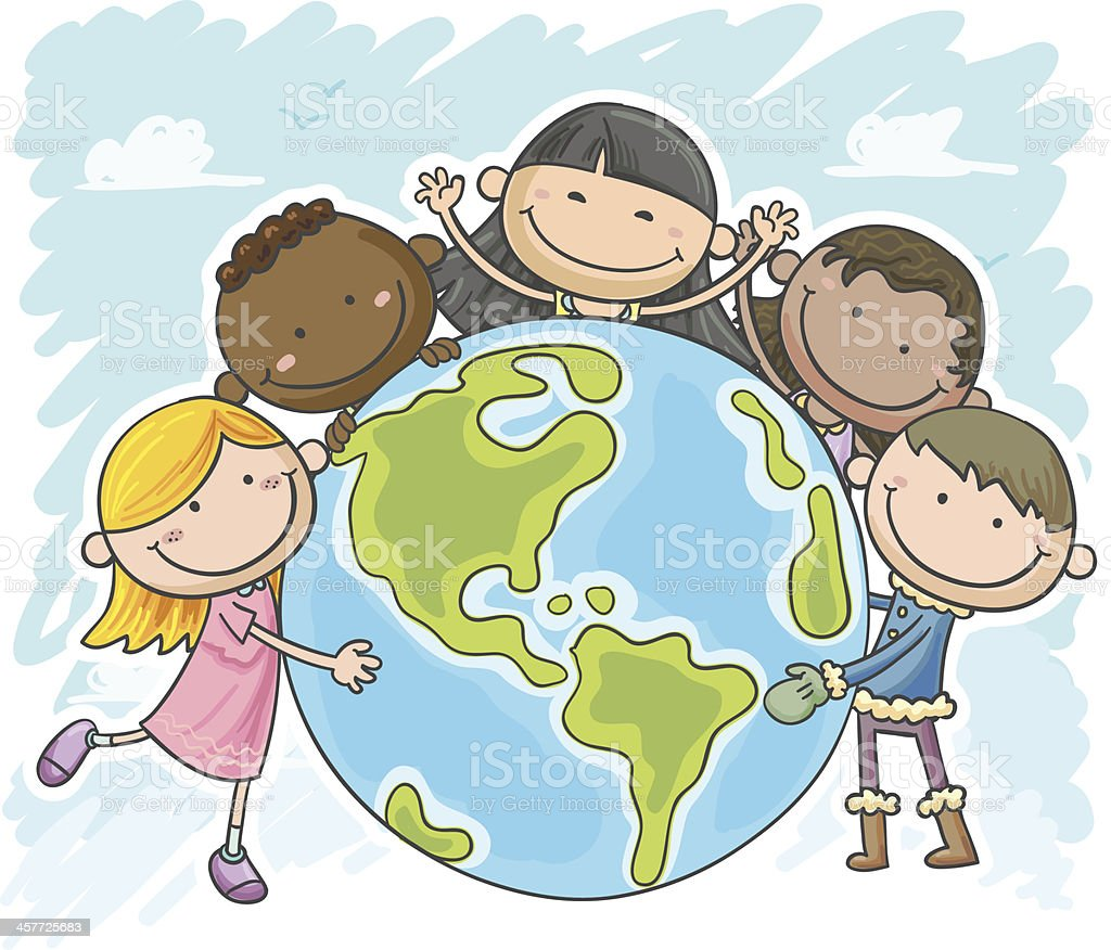 Little kids are protecting the world royalty-free stock vector art