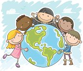 Little kids are protecting the world, in colourful cartoon style