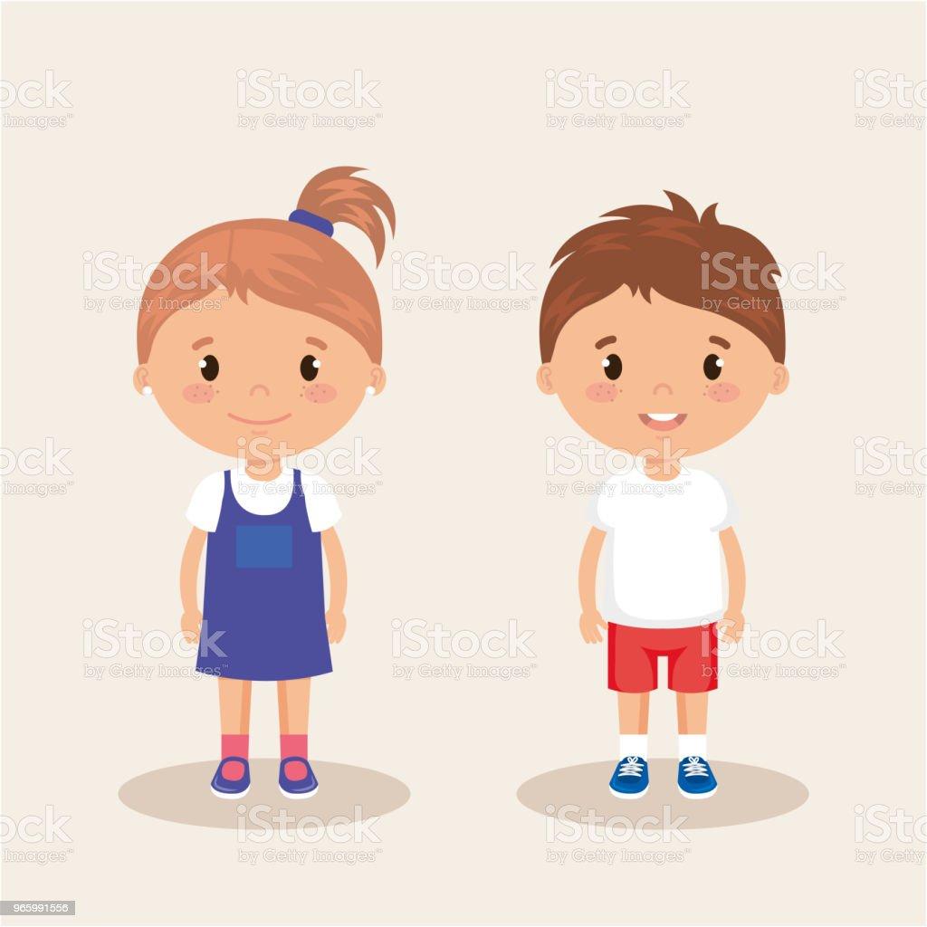 kleine Kinder freundliche Charaktere - Lizenzfrei Avatar Vektorgrafik