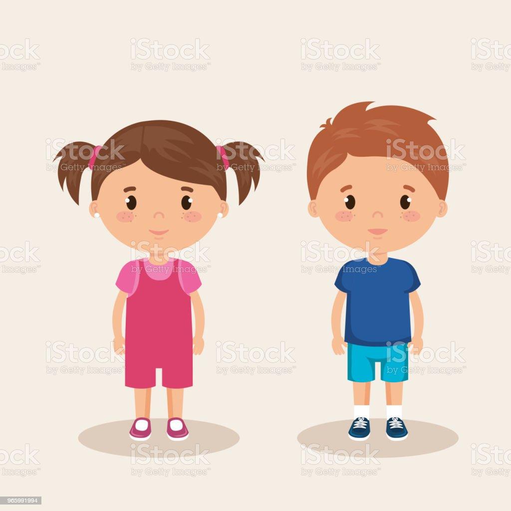 маленькие дети дружественных символов - Векторная графика Аватарка роялти-фри