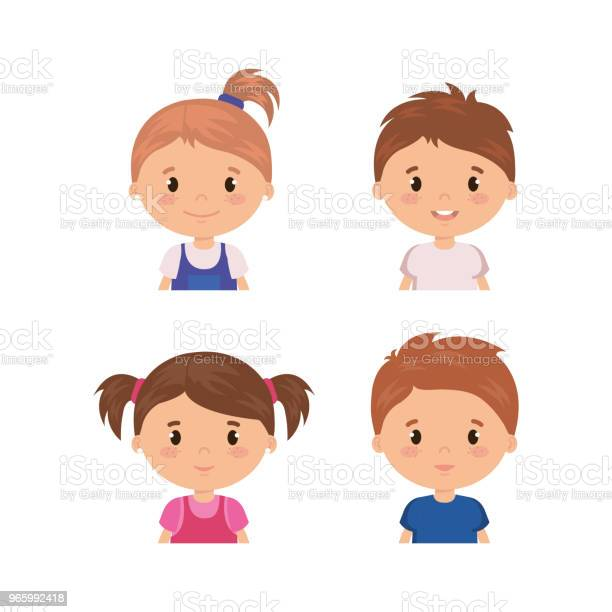 Маленькие Дети Дружественных Символов — стоковая векторная графика и другие изображения на тему Аватарка