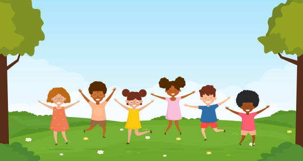 Little kids having fun and play together in nature. vector art illustration