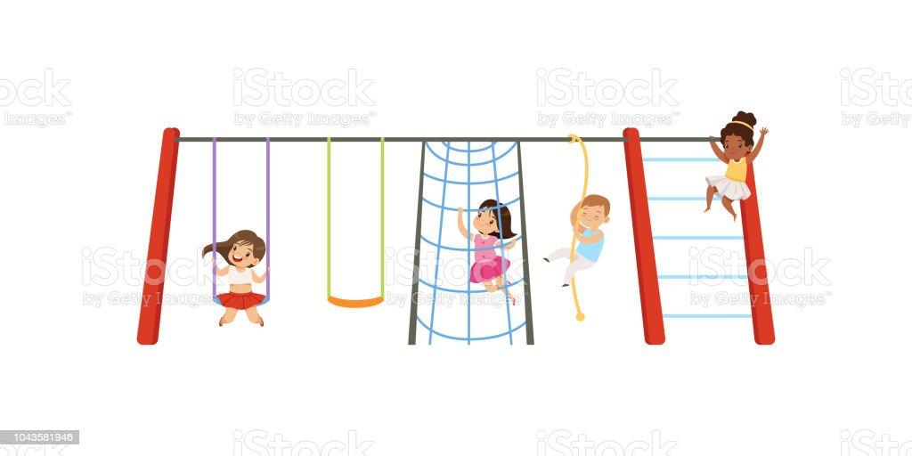 Crianças Se Divertindo No Parque: Vetor De Pouco Crianças Se Divertindo No Parque Crianças