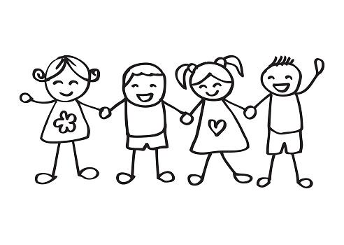 Little kids holding hands