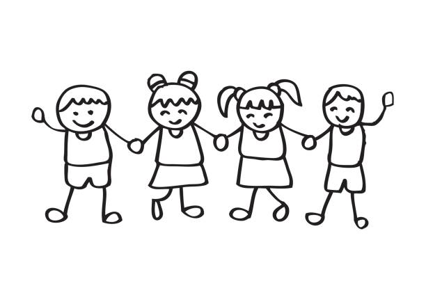Top Different Races Holding Hands Silhouettes Clip Art