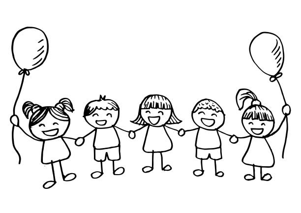 Vectores De Feliz Grupo De Niños Amigo Ilustración De Dibujos