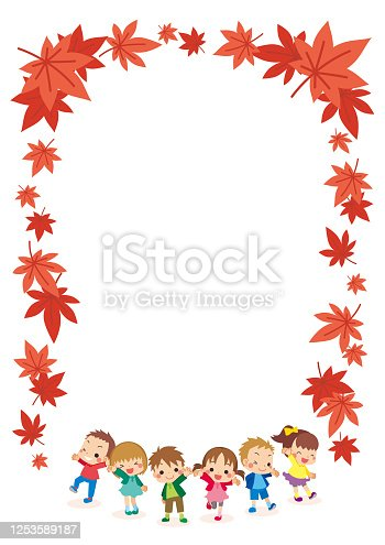 istock Little Kids in Autumn 1253589187