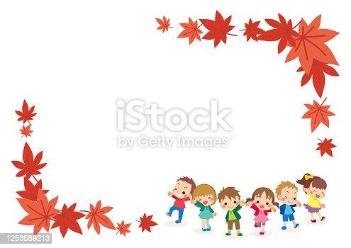 istock Little Kids in Autumn 1253589213
