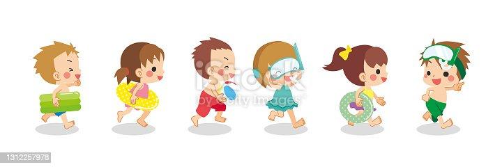 istock Little Kids in swimsuits 1312257978