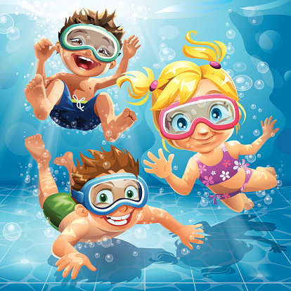 Little Kids jumping, swimming and diving in pool