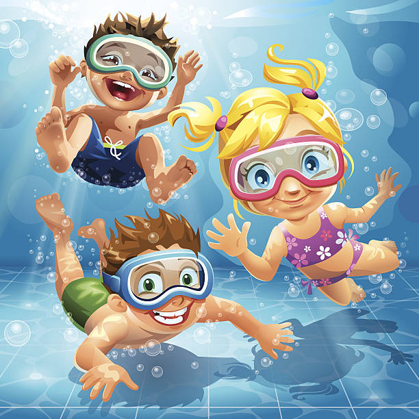 little kids jumping, swimming and diving in pool - cartoon kids stock illustrations, clip art, cartoons, & icons
