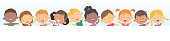 Vector little kids over a white background