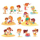 Big set of cute cartoon kids playing together on beach in groups. Little boys and girls playing with sand.Summer activities.Vector illustrations on white background