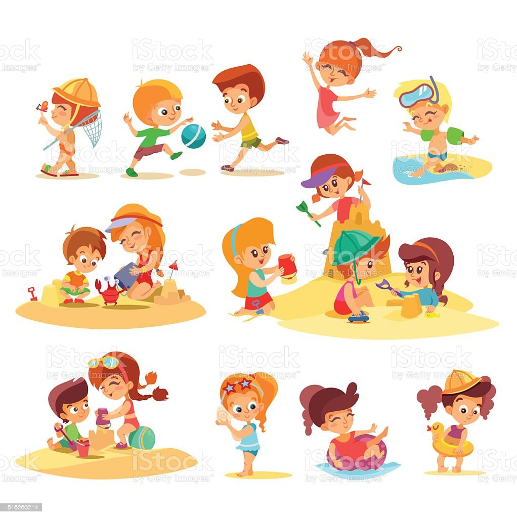 Little kids playing together on beach in groups. vector art illustration