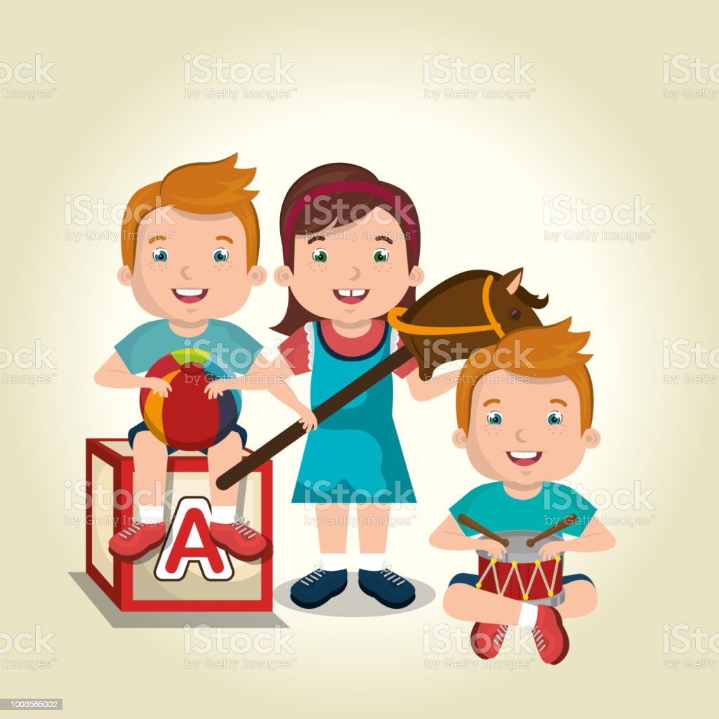 Little Kids Playing With Toys Characters Stock Vector Art More