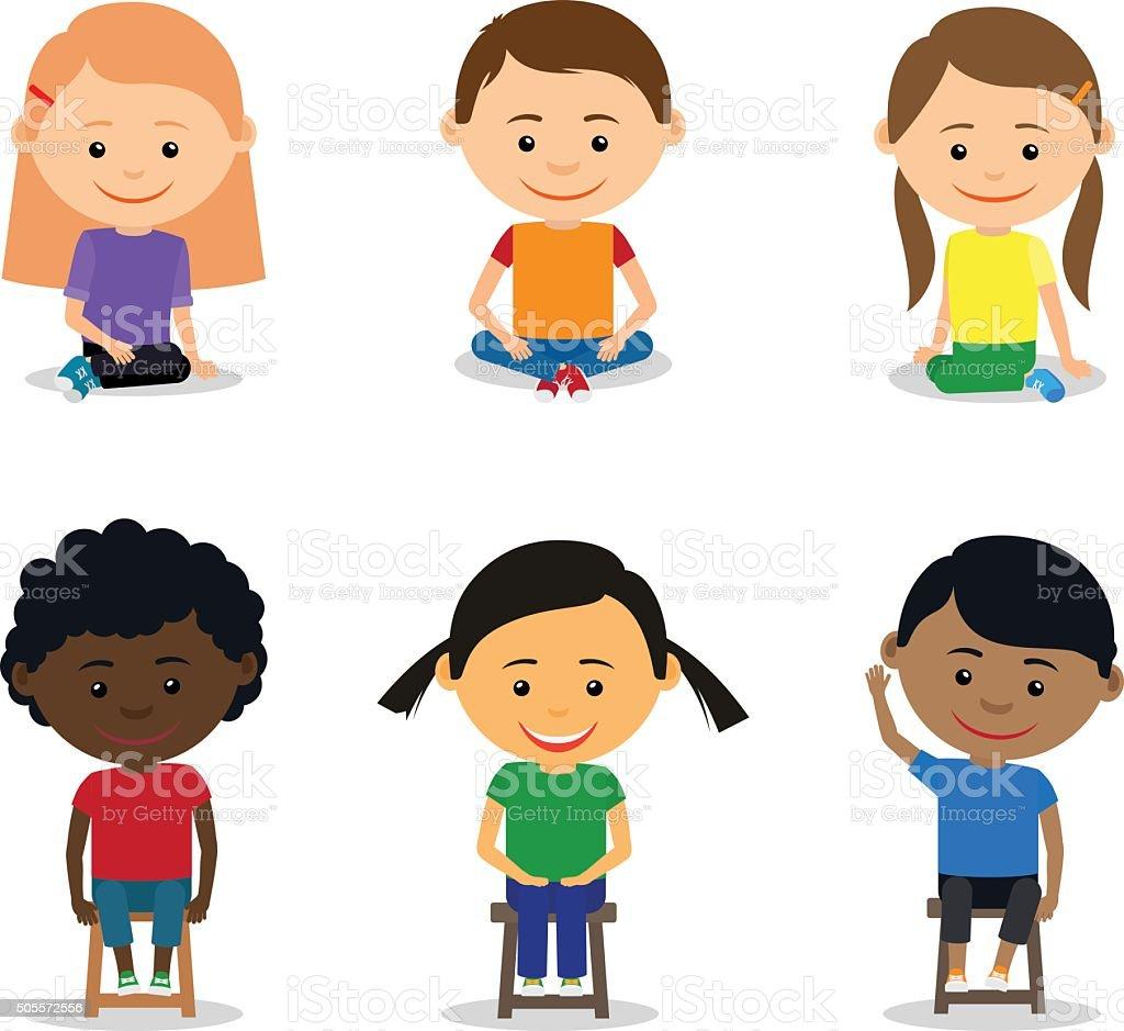 Little kids sitting vector art illustration