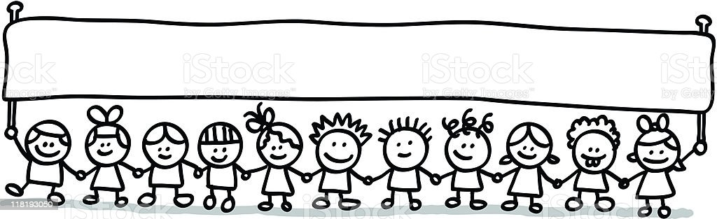 Little Kids With Banner Stock Vector Art & More Images of ...
