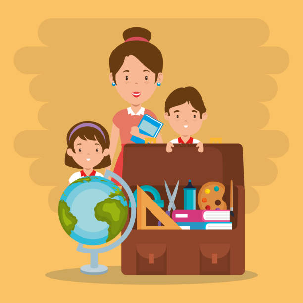 ilustrações de stock, clip art, desenhos animados e ícones de little kids with school supplies and teachers - teacher school solo
