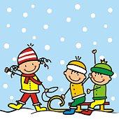 istock Little kids with sledge, vector design 1285137206