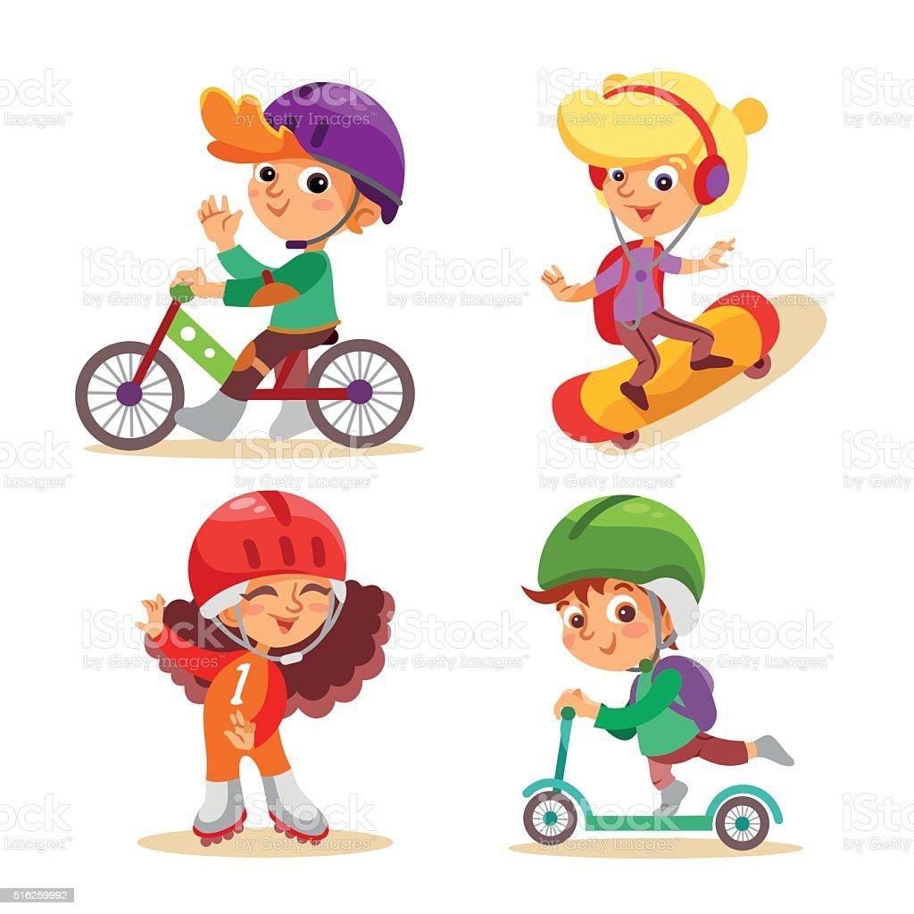 Little kids with various summer activities. vector art illustration