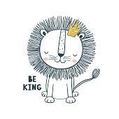 Little king. Vector illustration for kids. Use for print design, surface design, fashion kids wear, baby shower