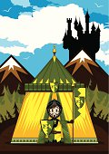 istock Little Knight with Banner Tent Scene 165817410