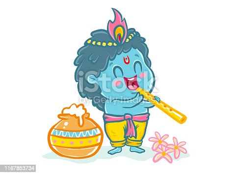 Vector illustration in kawaii style for Krishna Janmashtami. Little Krishna in kawaii style.